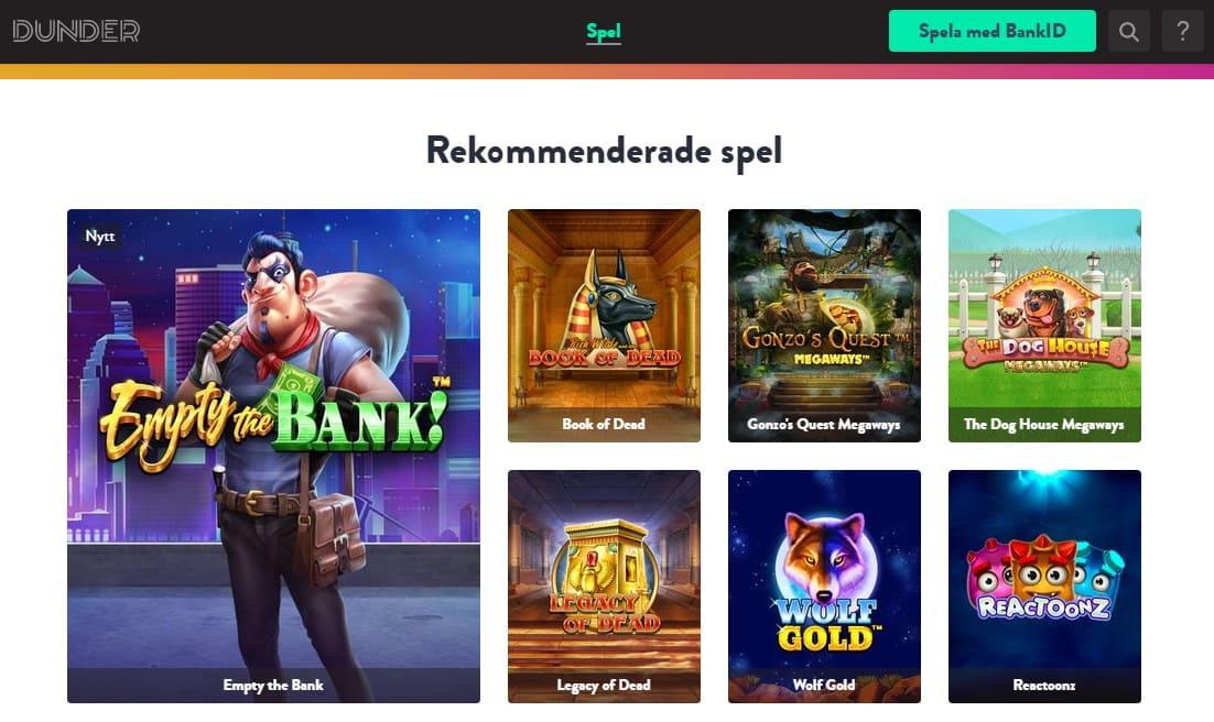 Dunder casinospel